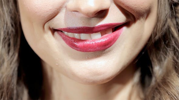 Thumbnail for Lips of Beautiful Woman Smiling