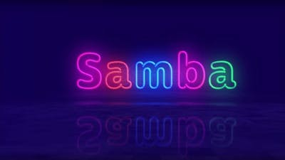 Samba neon symbol 3d flight between