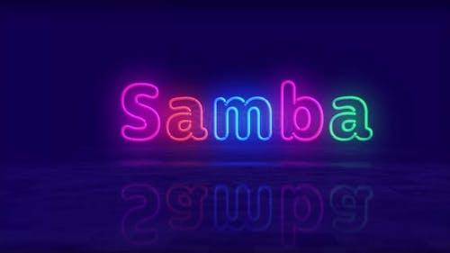 Symbole néon Samba 3D vol entre