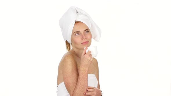 Thumbnail for Girl Is Drinking Coffee. Her Eyes Are Closed with Pleasure and She Has Towel on Her Head. Slow