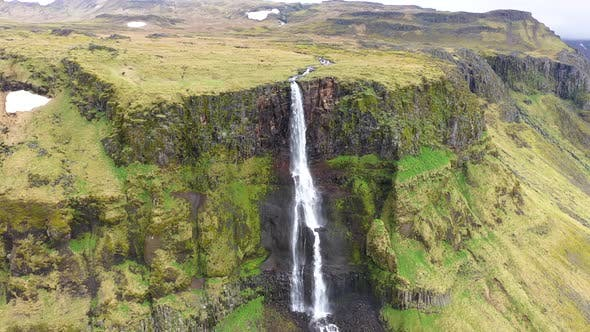 Thumbnail for High Angle View of a Huge Waterfall in Iceland