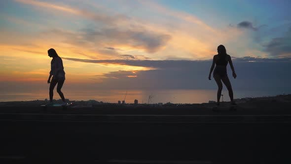 Thumbnail for Silhouette of Two Girls Riding Skateboards on the Background of the Ocean and the Sunset Sky