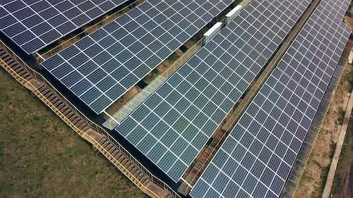 Aerial view of Solar panels. Solar power plant. Source of ecological renewable energy.