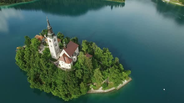 Thumbnail for View of the Church of the Assumption of the Virgin Mary on the Lake Bled