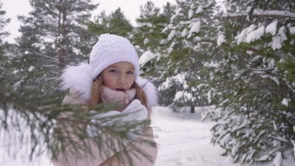 Little Girl Freezing in Frosty Woods