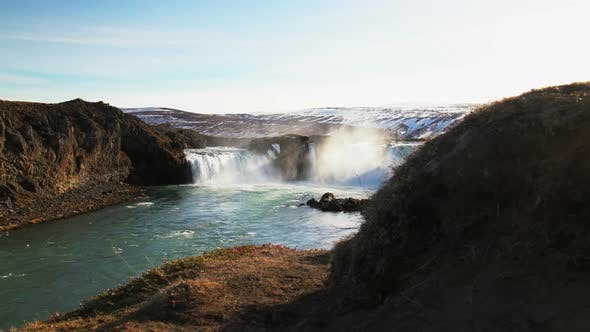 Slide from the Godafoss waterfall
