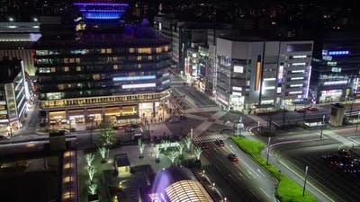 Kyoto Crossroad with Night Illumination Timelapse