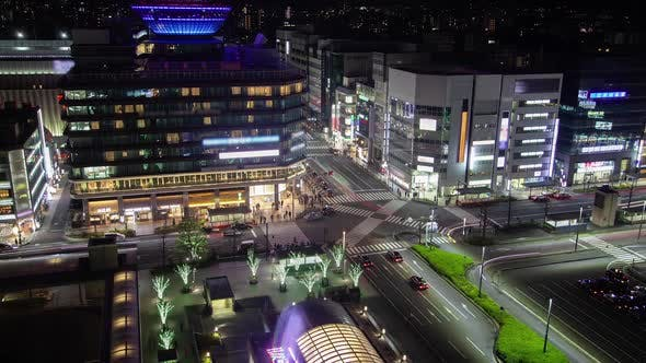 Thumbnail for Kyoto Crossroad with Night Illumination Timelapse