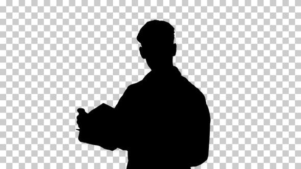 Thumbnail for Silhouette male doctor analysing some documents, Alpha Channel