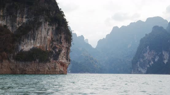 View of the Mountains Near and Far and the Calm Lake Waters in Thailand