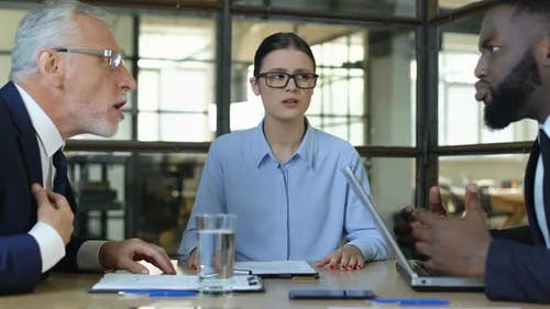 Businesswoman Shocked With Men Arguing, Showing Why Gesture, Stressful Meeting