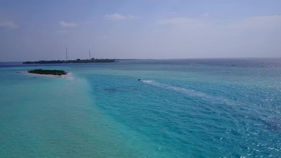 Thumbnail for Daytime drone clean view of a white paradise beach and turquoise sea background