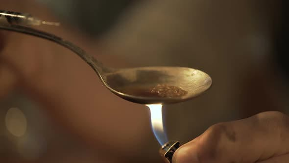 Thumbnail for Dangerous Liquid Narcotic Substance Prepared in Spoon, Drug Dependence Problem
