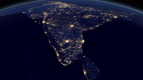 India at Night in the Earth
