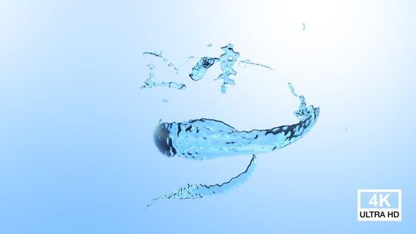 Twisted Blue Water Splash 4K
