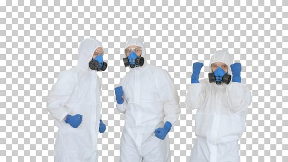 Cover Image for Medical team in protection clothes stacking, Alpha Channel