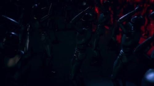 Цифровые кибер-гуманоидные роботы с искусственным интеллектом идут вместе и танцы в Techno Party