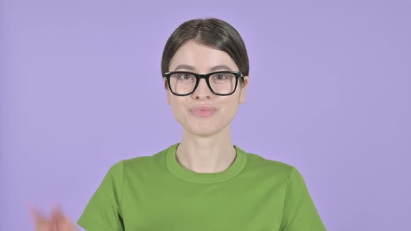 Thumbnail for Young Woman Showing Victory Sign on  Pink Background