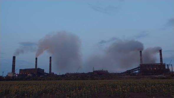 Thumbnail for Timelapse Factory Smoke Stacks Billow, Thick Smoke.