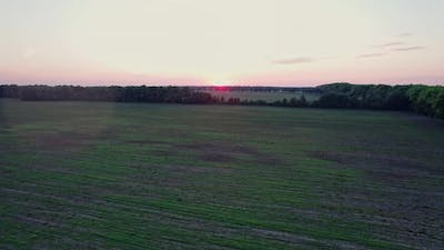 Sunset Aerial View of Rural Life Scene