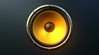 Single Audio Speaker with Orange Membrane Playing Modern Music
