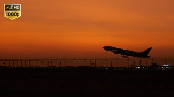 Thumbnail for Plane Sunset Takeoff