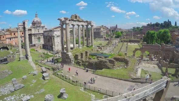 Thumbnail for Aerial View on Roman Forum in Italy, Tourists Walking in Ancient Town, Timelapse