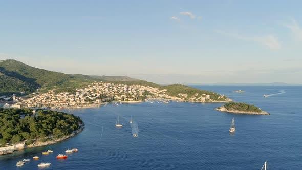 Port of Hvar in Croatia Aerial View