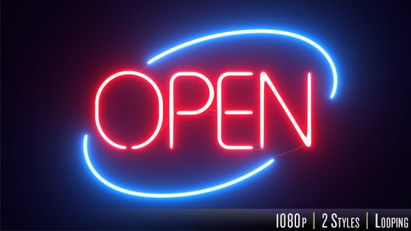 Thumbnail for Round Neon Open Sign