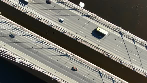 Thumbnail for Aerial Shooting Over the Cable-stayed Bridge, Zoom Out From the Cars Over the River