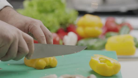 Thumbnail for Chef Chopping Vegetables Slow Motion 12