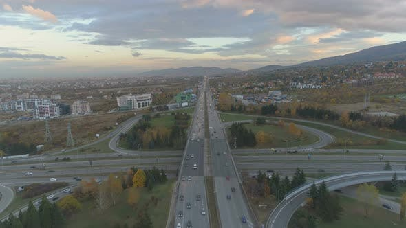 Thumbnail for Cars Driving Slow at Rush Hour on Busy Road, Aerial Drone View of Sofia, Bulgaria