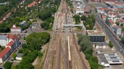 Aerial View of S Bahn Train Driving to Schoneweide Train Station