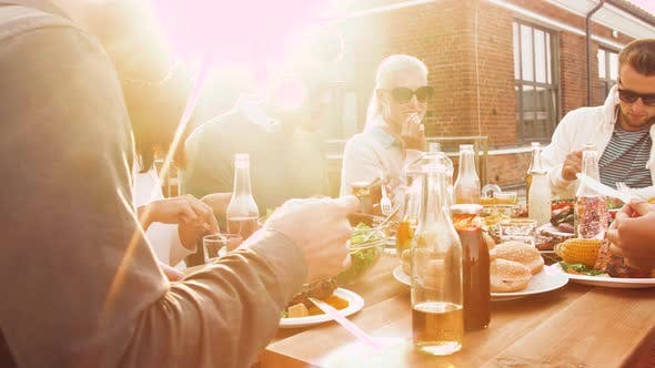 Thumbnail for Friends Having Dinner or Bbq Party on Rooftop 57