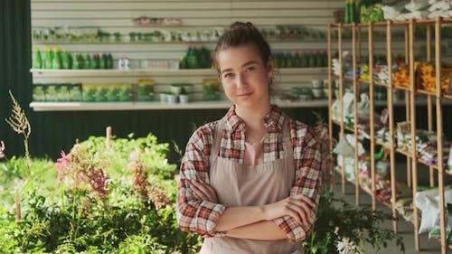 Portrait Of Female Gardener In Utility Room