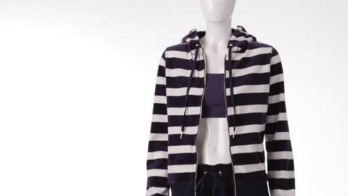 Striped Hoodie on Female Mannequin