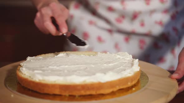 Woman Is Getting First Cake Layer Ready