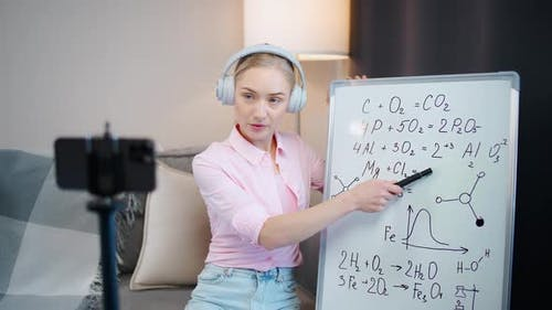 Woman Chemistry Teacher Makes a Lesson Online Live Broadcast of the Learning Process for Students
