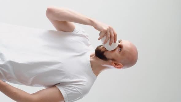 Morning Hangover Headache Man Drinking Cold Tea