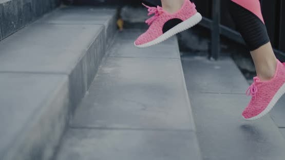 Close up of runner in the city
