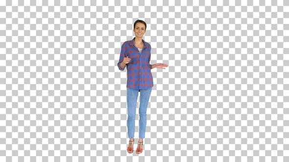 Thumbnail for Casual woman in denim shirt dancing