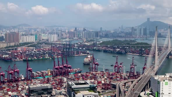 Thumbnail for Container Port Hong Kong Industrial Districts at Sea Harbor