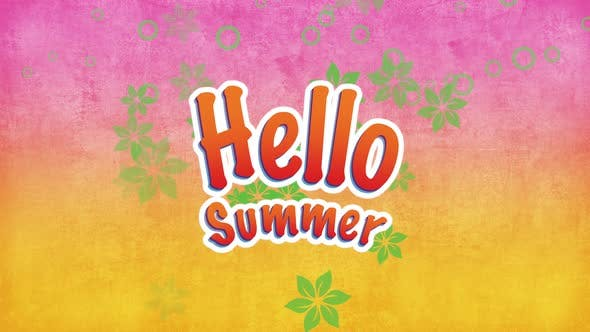 Text Hello Summer with fly flowers
