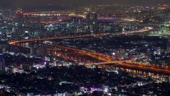 Korea, Seoul Illumination Cityscape Central Road