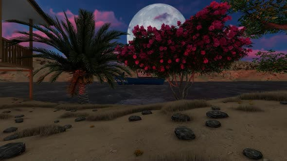 Thumbnail for Tropical island with palm trees at night