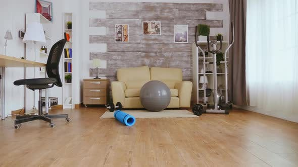Empty Room with Fitness Accessories