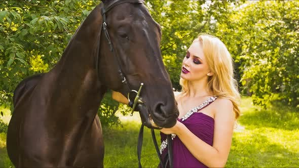 Thumbnail for Beautiful Girl in the Park With a Horse 1237
