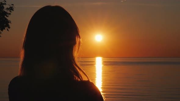 Cover Image for Silhouette of a Middle-aged Woman Who Watches the Sunset Over the Sea