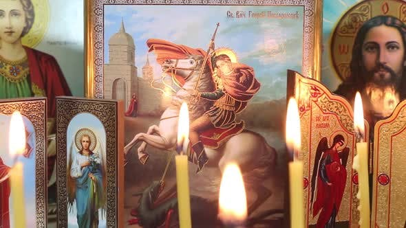 Thumbnail for Candles On The Background Of Orthodox Icons