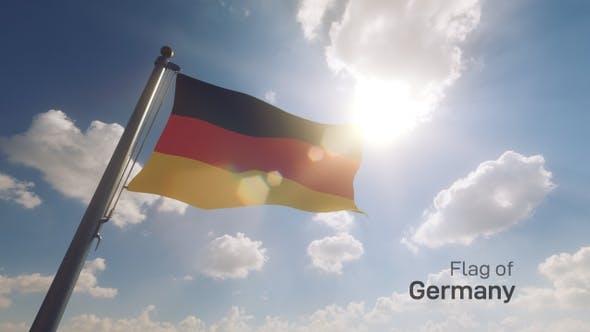 Germany Flag on a Flagpole V2